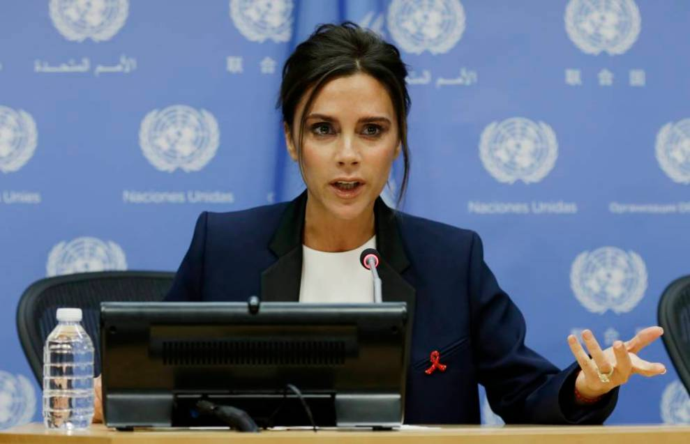 epa04417123 Victoria Beckham, British businesswoman , fashion designer and singer speaks at a press conference  where she was appointed UNAIDS International Goodwill Ambassador during the general debate of the 69th session of the United Nations General Assembly at United Nations headquarters in New York, NY, USA, 25 September 2014.  EPA/PETER FOLEY